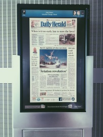 The Daily Herald on the monitor at the Newseum in Washington, D.C.