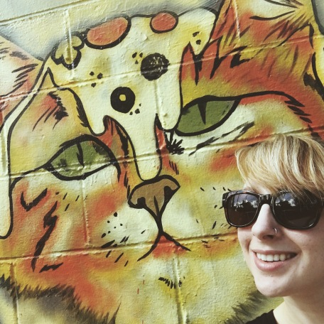 Important self-portrait at the Blue Cat Cafe in Austin, Texas.